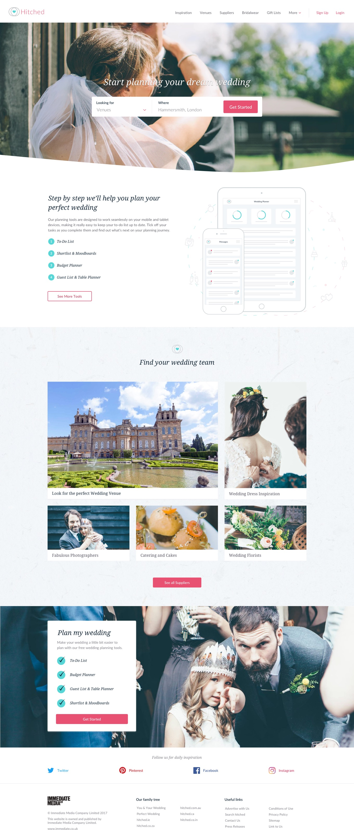 Homepage visual for wedding website