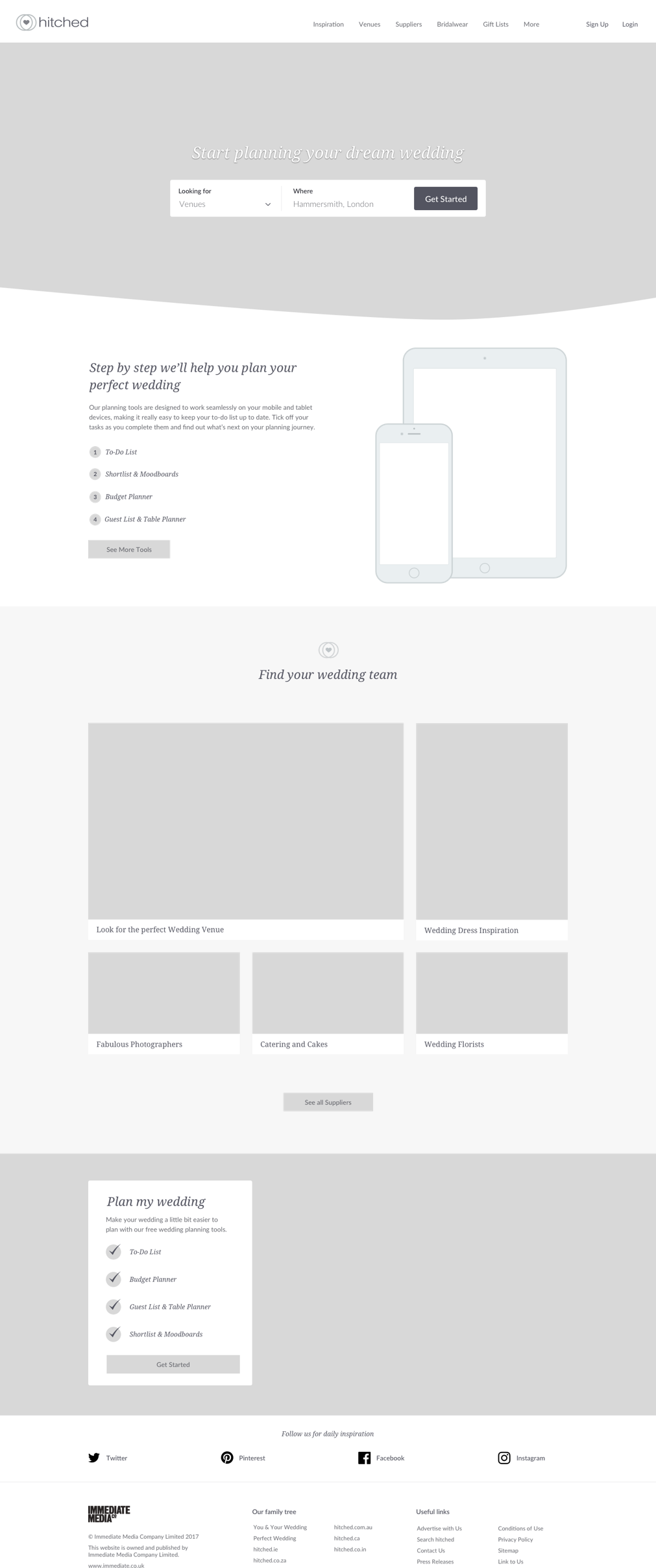 The finished hitched wireframe after ux interviews